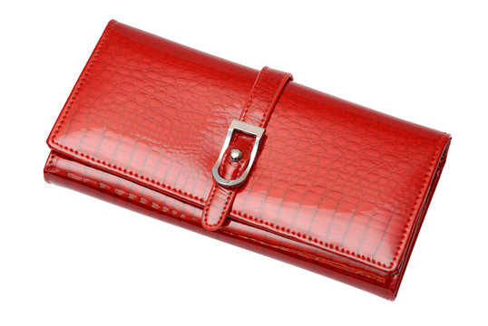 Woman red glossy wallet on the white background