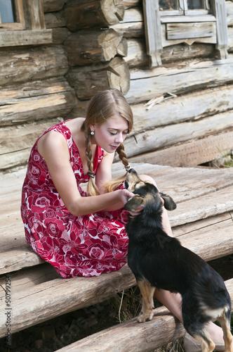 Русская девушка с догом 7 фотография