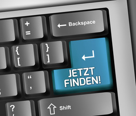 """Keyboard Illustration """"Jetzt finden!"""""""