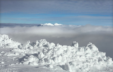 Snowbank on top of the mountain, Germany, The Alps