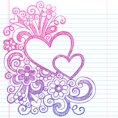 Love Hearts Sketchy Notebook Doodles Vector Illustration