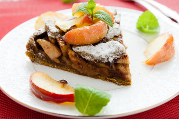delicious apple pie with chunks of baked apple
