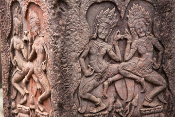 Stone murals and sculptures in Angkor wat, Cambodia