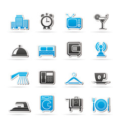 Hotel, motel and travel icons - vector icon set