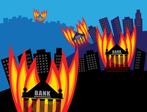 Burning Bank, vector illustration