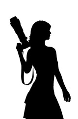 woman with camera silhouette