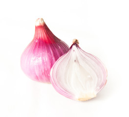 Raw red onion isolated on white background with clipping path