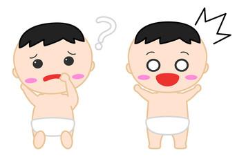 赤ちゃんイラスト 悩む 驚く
