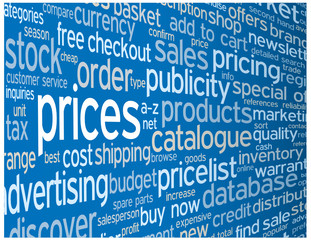 """""""PRICES"""" Tag Cloud (products services quote info contact button)"""