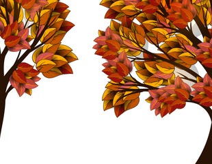 Autumn tree with red and yellow leaves