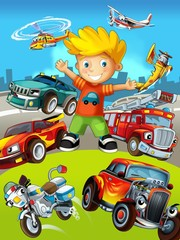Poster Voitures enfants The vehicles - the label with kid - illustration