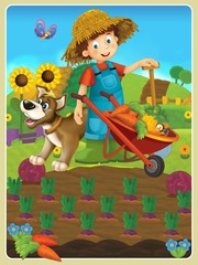 Foto auf Gartenposter Bauernhof On the farm - the happy illustration for the children
