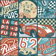 Vintage racing cars patchwork vector wallpaper