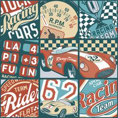 Vintage racing cars patchwork vector wallpaper