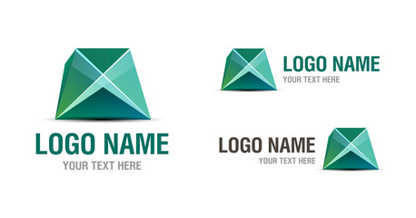 Abstract green origami logo design template  isolated on white