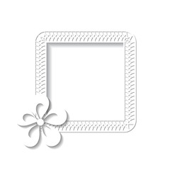 paper frame with a flower on the white background