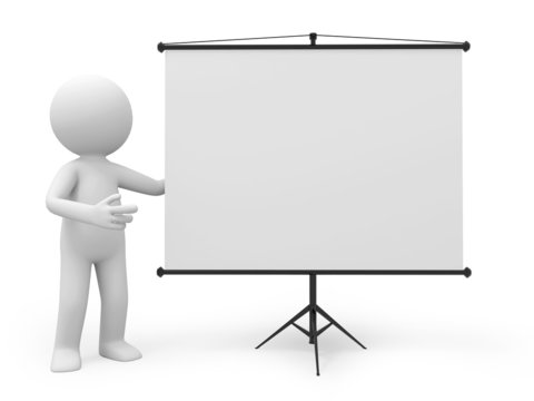 a 3d man introducing something, standing by a projector