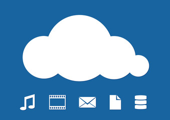 Cloud Computing abstract illustration on blue