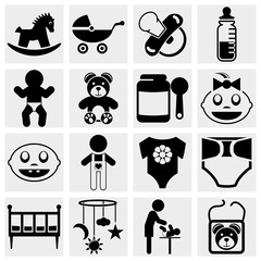 Baby and newborn vector icon set
