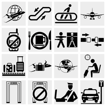 Airport vector icons set. Elegant series icons and signs