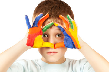 nice kid with stained coloured hand