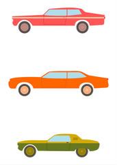Sylwetki amerykańskich samochodów sportowych.