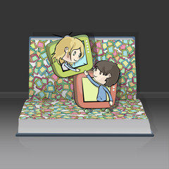 Children in televisions inside a open Pop-up book.