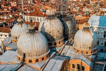 View of San Marco dome from the height in Venice, Italy