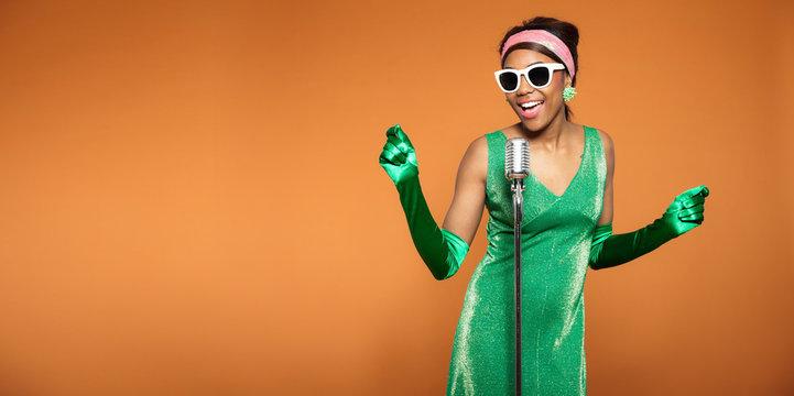 Vintage soul funk woman singing. Black african american. Copy sp
