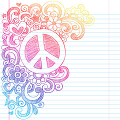Peace Sign Back to School Sketchy Notebook Doodles