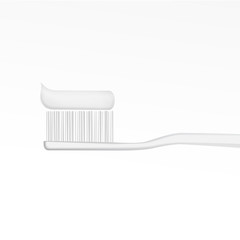White toothbrush with toothpaste