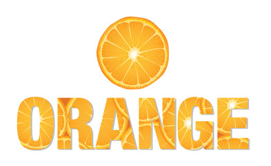Orange text made from slices of citrus