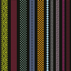 Color ornamental lines vector collection
