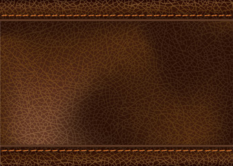 Vector leather texture with stitching