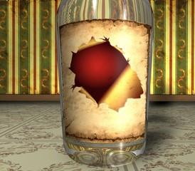 3D Retroflasche - Rotes Loch