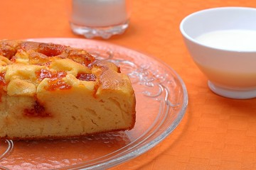 Delicious cake with jam