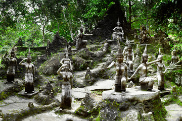 Amphitheater of angels statue in Buddha Magic Garden. Thailand