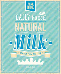Wall Mural - Vintage Milk card. Vector illustration.