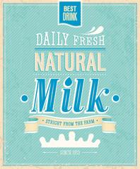 Wall Mural - Vintage Milk card. Vector illustration.