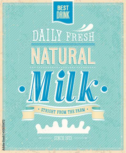 Wall mural Vintage Milk card. Vector illustration.