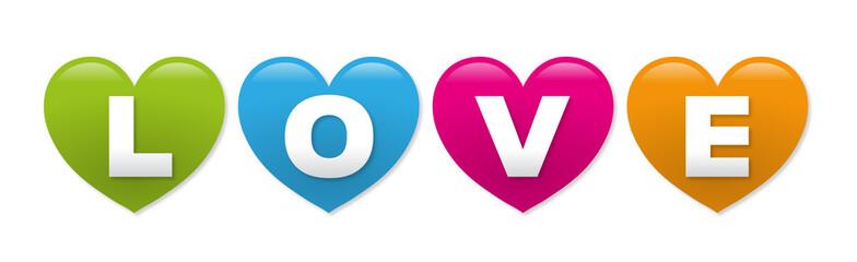 """Schriftzug """"LOVE"""" auf bunten Herzen – Vektor und freigestellt"""