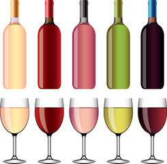 wine and wineglasses photo-realistic vector set