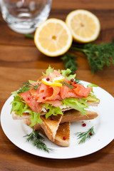 vegetarian toast with smoked salmon