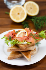Smoked salmon toast with fresh salad