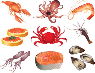 seafood photo-realistic vector set