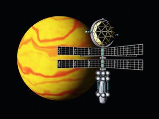 Gelber Planet mit Raumsonde