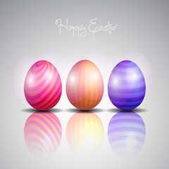 Easter eggs background with elegant reflection - vector