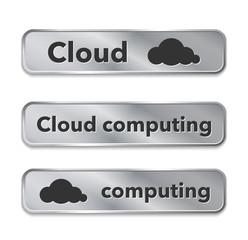 Cloud computing metallic web elements, buttons
