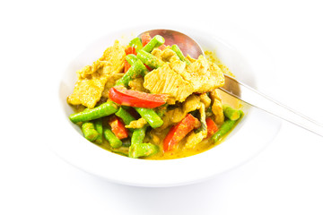 Stired slice pork in spicy curry with beans