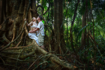 Romantic couple in the tropical jungle